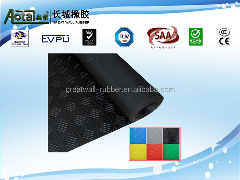 Factory 30 years Anti-fatigue Checker Plate anti-slip Arabesquitic SBR Material Rubber flooring