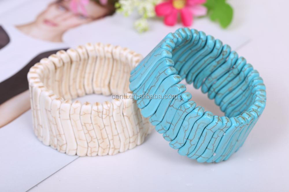Geometric White Turquoise Stretch Bangle wide turquoise bangle