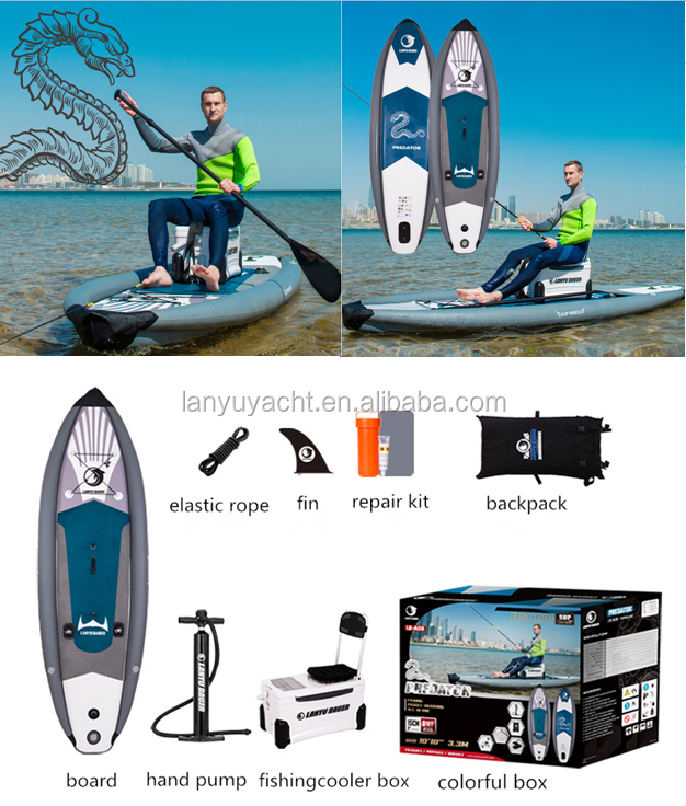 inflatable fishing board with fishing rod and cooler box
