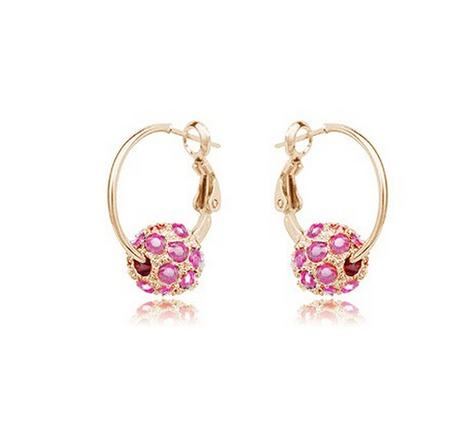 Top Sale Party Chrsitmas Jewelry Fashion Round Earrings Stud Rose Gold Plated Austrian Full Crystals Women Earrings Wholesale