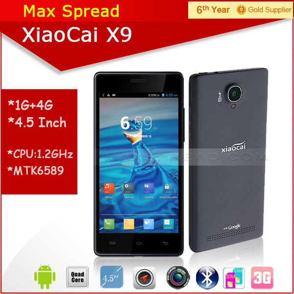 Hot sales! cheapest 5 inch Screen MTK6582 quad core Xiaocai X9 3g wifi dual sim android gps mobile phone