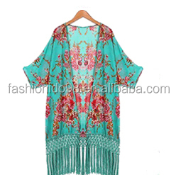 Women hot Summer beach Cover up Pattern Print Chiffon Bikini Beach Kimono