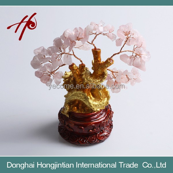 New Style Natural Crystal Rose Quartz Fortune Tree Best Price and High Quality