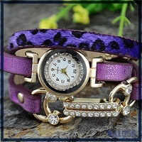 High quality New arrival automatic ladies wrist watch wholesale african leather bracelet crystal decoration quartz brand watch