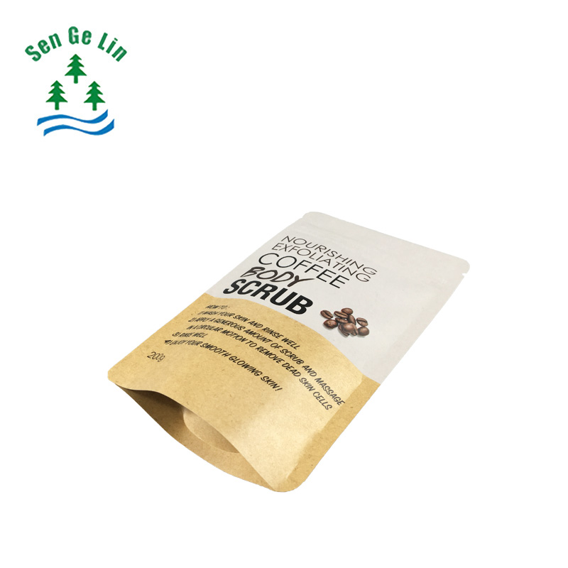 customized printing resealable 200g lined aluminum foil stand up pouch kraft paper coffee/tea packaging bag