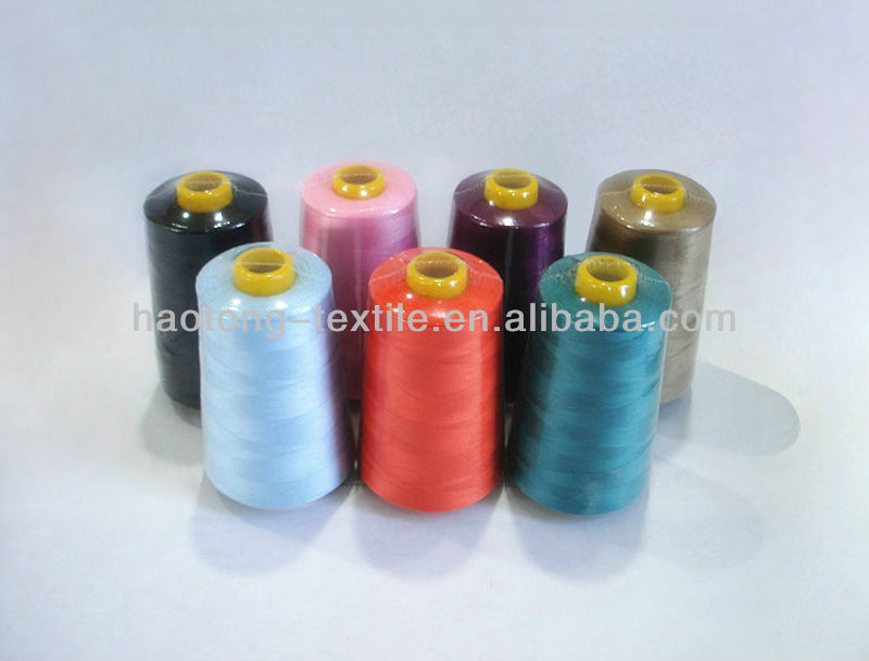 100% polyester sewing thread on plastic bobbins and cones