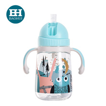 EN 71 factory Tritan baby water drinking training cup bottle with straw handle safe BPA free OEM
