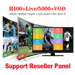 IPTV 12 Months Subscription 8400+ Live 5000+ VOD USA iptv Arabic India African Europe M3U Channels List for IPTV Reseller Panel
