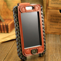 copyright storekeeper 2013 SHOWKOO retro military Premium Genuine Woven edge Leather Edition Pouch Case For Apple iPhone 5s 5c