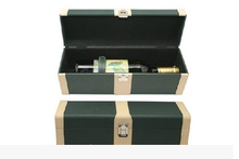 alibaba 2015 hot selling popular six bottle leather wooden wine box