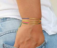18kt gold brass tube Candy color rope friendship bracelet