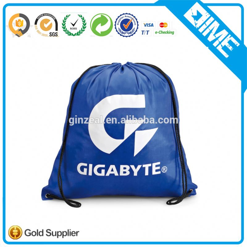 Foldable Nylon Gym Sack 210d Polyester Drawstring Bag