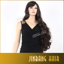 Fashion 80cm cosplay wig female hairstyle long curly wavy dark brown synthetic hair wig