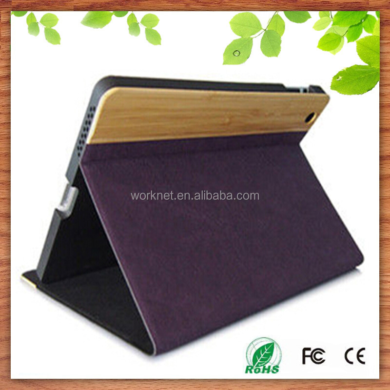 2016 promotional gift for iPad mini pu leather book case, wooen leather cover case for ipad mini 4