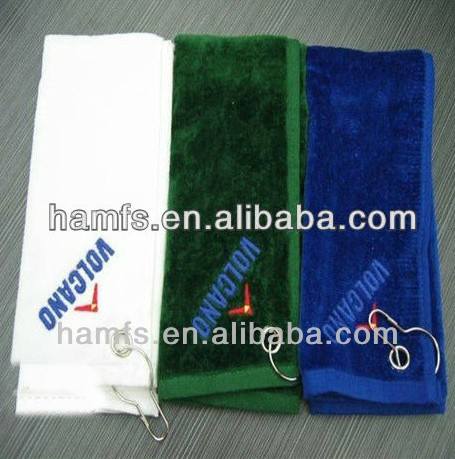 velvet pile golf towel \ hook golf towel with logo embroideried