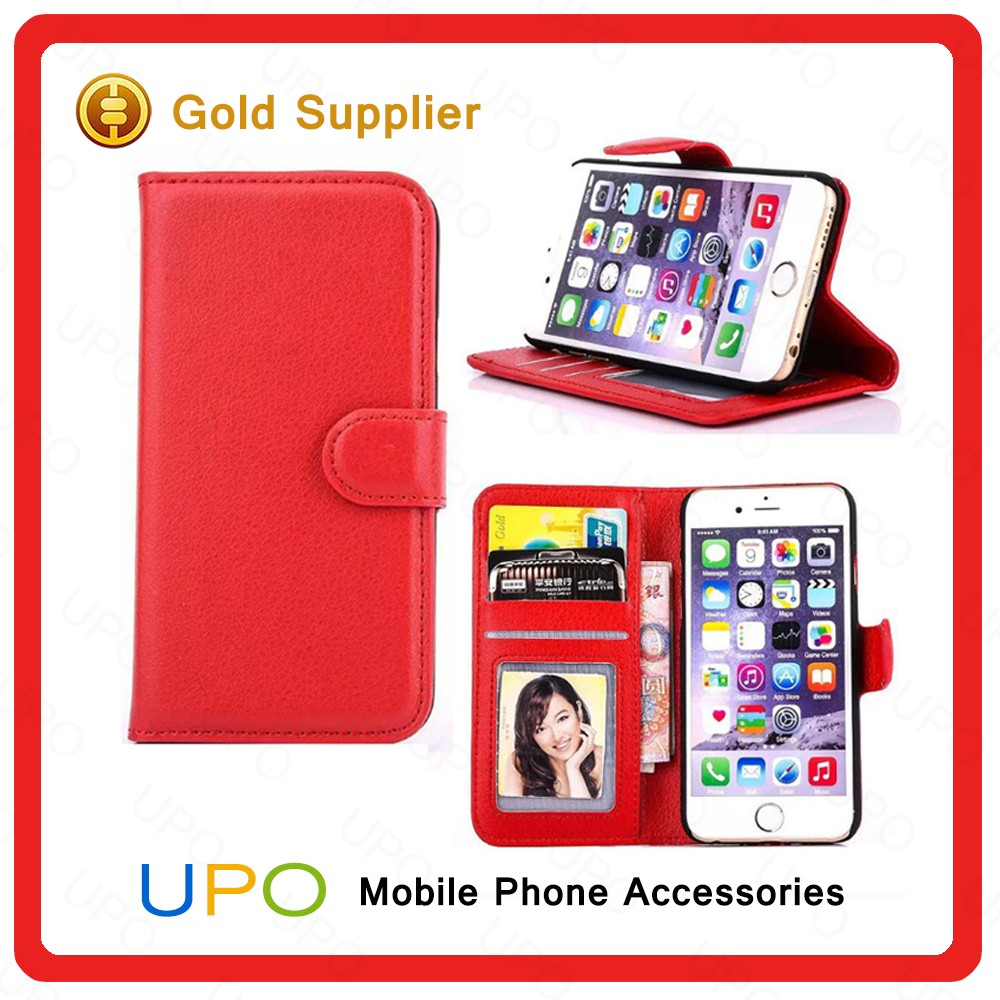 [UPO] High Quality Flip Leather Case with Wallet Card Slot for iPhone 6s Cell Phone Accessories