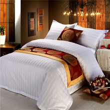 Hotel bedding set cotton fabric with stripe jacquard and sateen