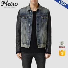 Wholesale Men's Contrast Color Denim Jackets With leather Sleeve