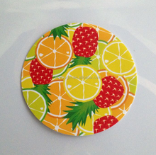 Full color printing fruit theme coaster oeange cup mat pineapple cup pad