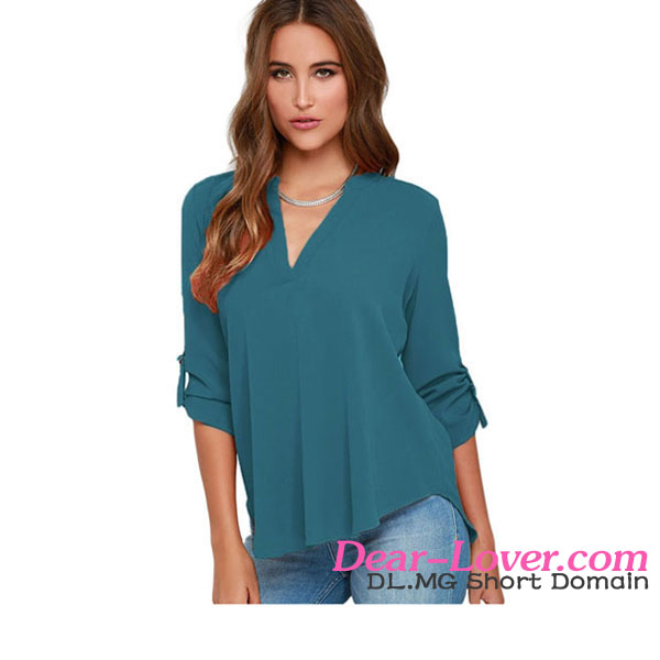 Lake Green V Neck Fitting Chiffon design for formal blouses pictures