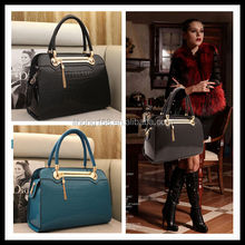 newest style fashion lady big capacity pu crocodile wholesale handbag