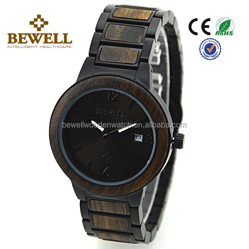 New Model supplier Bewell or OEM Japan Quatrz Movement Men's wrist Stainless steel and wooden Watch
