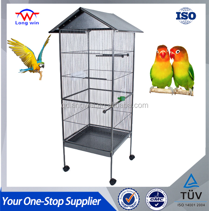 "Homey Pet - 65"" House Shape Cockatoo Macaw Bird Cage with Roof Casters, Feed Door, Perch, Metal Tray."