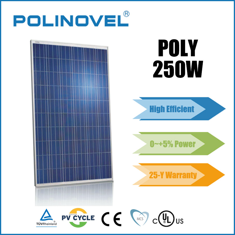 Positive power tolerance high quality 250 watt polycrystalline solar panel