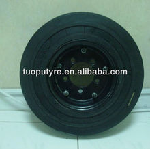 Small solid rubber tires and wheels