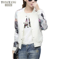 TONGYANG 2018 Women Jacket Brand Tops Flower Print Girl Casual baseball Sweatshirt Button Thin Bomber Long Sleeves Coat Jackets