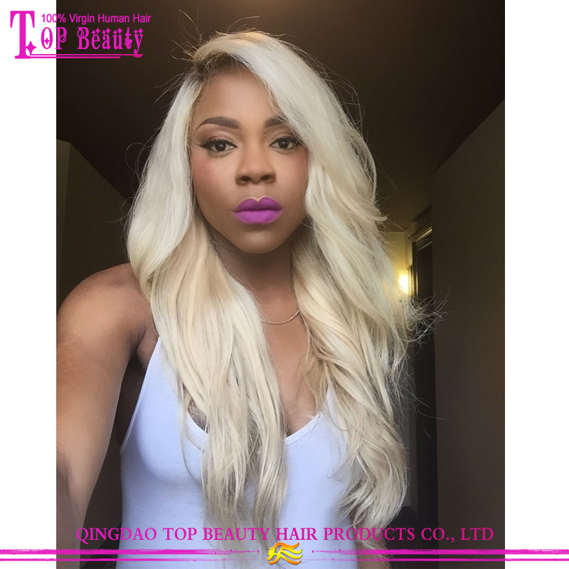 Most popular100% virgin brazilian human hair ombre full lace wig blonde ombre wig