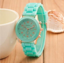 Wholesale Popular Geneva Silicone Rubber Candy Watches Unisex Mens Womens Ladies Colorful Rose-Gold Dress Quartz Watches
