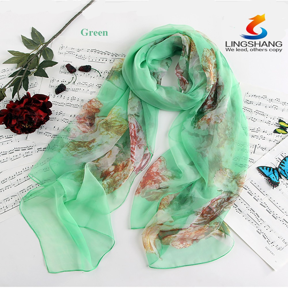 Lingshang wholesale new arrived brand elegant accessories fashion desigual shawl printed silk women scarf