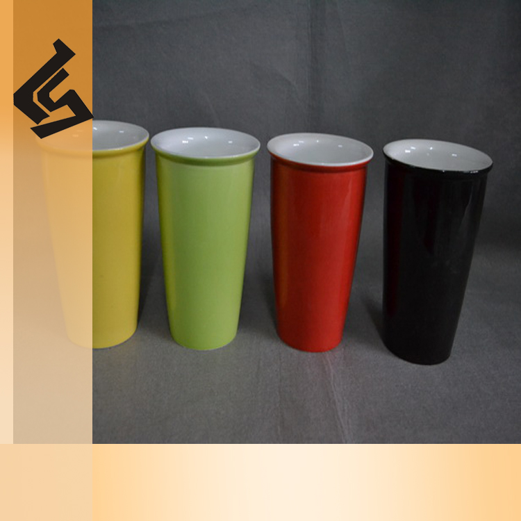 porcelain coffee tea cup with cover ceramic insulated tumbler for sublimation