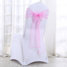 Organza bows chair sashes pink for wedding chair cover
