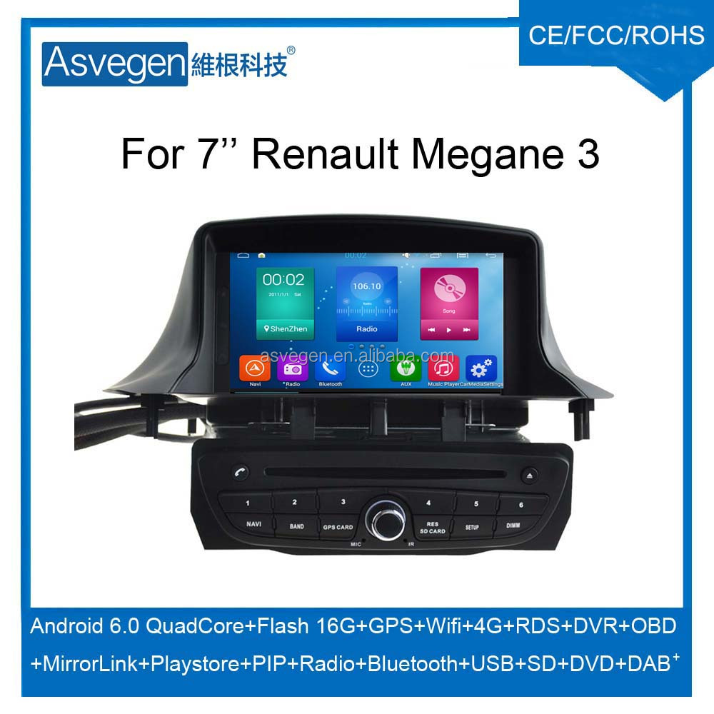 Wholesale Android Car DVD Player for 7'' Renault Megane 3 Navigation Car DVD GPS Support Playstore,4G,WIFI