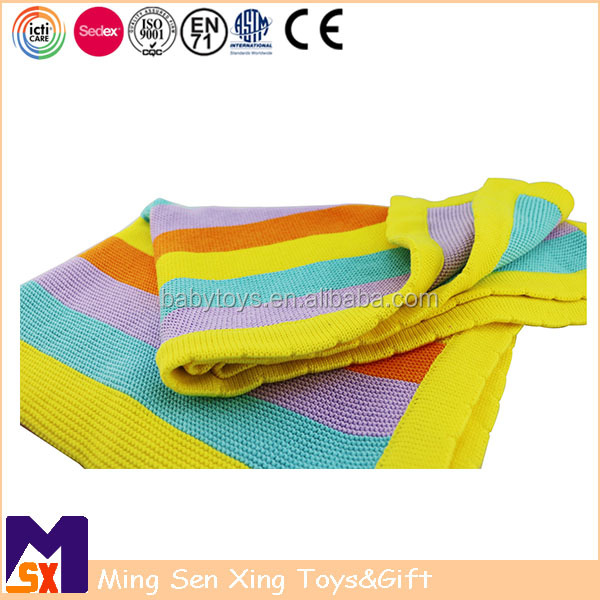 High quality rainbow stripe cotton knitted blanket for mummy and baby