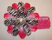 "Hot selling 1.5"" crochet headband with 4"" zebra Tropical lily flower"