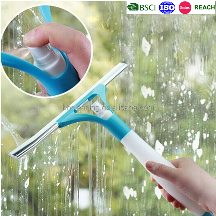 2015 new design multifunctional spray blue window cleaning squeegee glass wiper