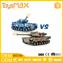 Hot selling 4 channel plastic light and music big remote control toy tank with non-slip track