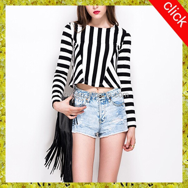 short stripe fine cotton tight fit long sleeve t-shirt for women VOWWT7302
