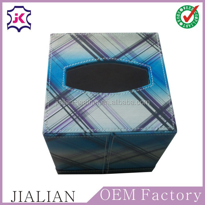 Custom design leather facial tissue storage boxes / tissue container boxes