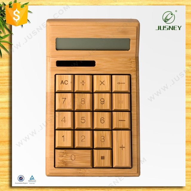 China manufacturer natural bamboo wood calculator, 12 digits solar powered bamboo calculator wholesale