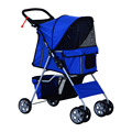 Folding Travel 4-wheels Pet Stroller Carrier - Pink Red Coffee Blue Grey