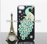 For Apple iPhone 5 5G 5S New Arrival Bling 3D Peacock Ocean Crystal Diamond Rhinestone Hard PC Plastic Case