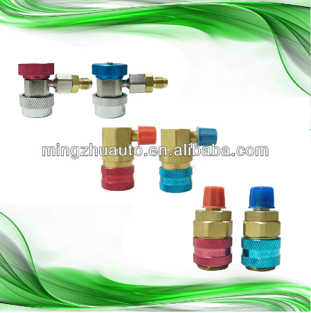 High Efficiency 90 Degree R134A Quick Connectors Adaptors High/Low Brass Couplers Automotive AC System