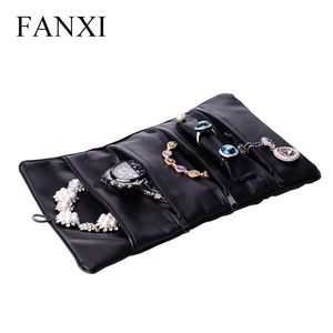 FANXI Custom Multi Foldable Travel Storage Bracelet Watch Ring Necklace Packaging Pouch Black Soft PU Leather Jewelry Roll Bag
