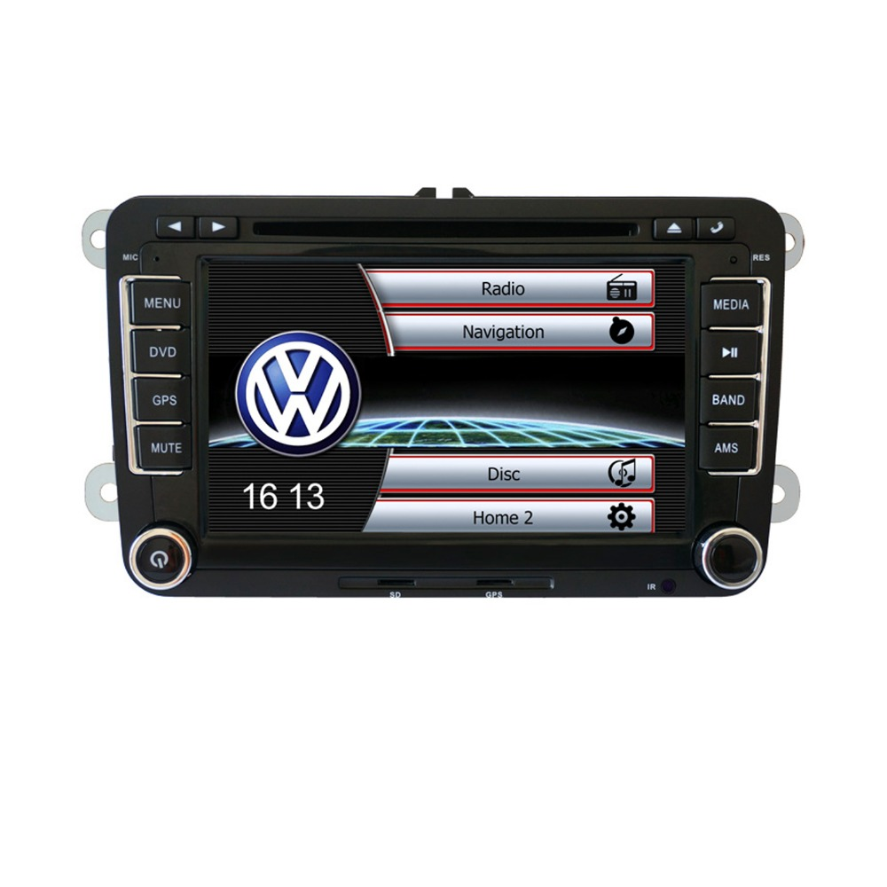 Camera+GPS Navigation 2DIN Auto Radio Car DVD Player BT For VW Passat Golf Jetta