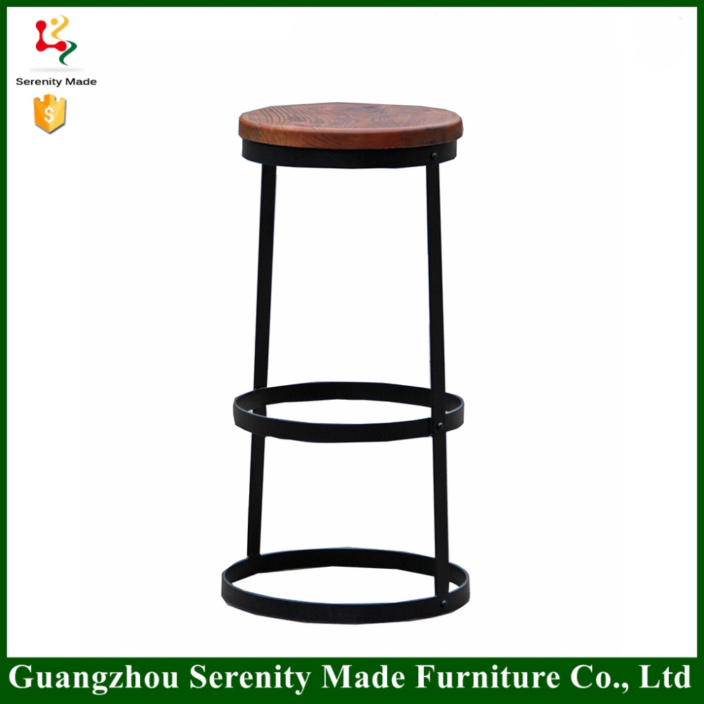 China furniture modern round wooden seat counter stool