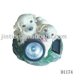 poly resin solar light about loyal cute puppy